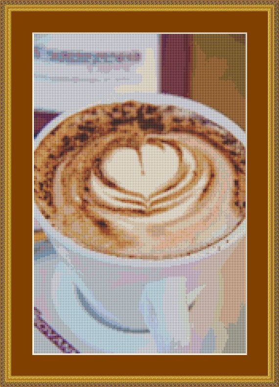 Cappuccino Coffee Cross Stitch Pattern /Digital PDF Files /Instant downloadable