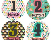 Baby Monthly Stickers- Baby Girl Monthly Stickers- Pattern Baby Monthly Stickers- Lady- Milestone Stickers- Bodysuit Stickers- Set of 12