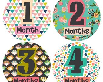Monthly Stickers by Lucy Darling For Each Month - Little Lady Milestone Baby Stickers Months 1-12