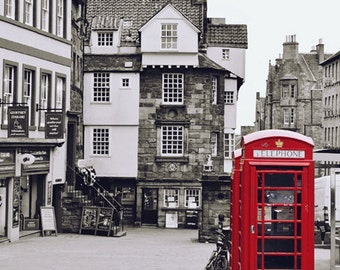 Edinburgh Print, Large City Wall Art, Red Phone Box, Black and White Photography, Architectural Print, Urban, Telephone Booth, Scotland Art