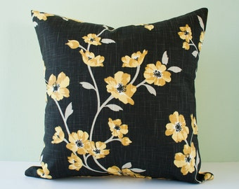 Yellow cherry blossom decorative throw pillow cover / yellow black pillow / accent pillowcase / cushion cover - 18 x 18 inches