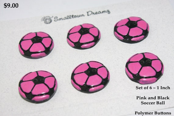 Handmade Black and Pink Soccer Ball ~ Polymer Clay Buttons (Set of 6)