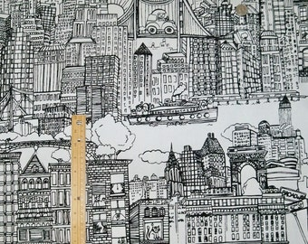 SCHUMACHER NEW YORK New York Toile Fabric 10 yards Black White