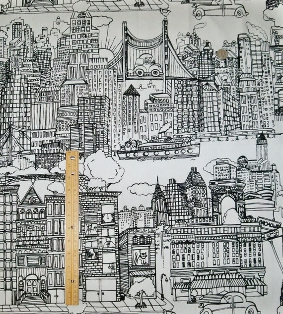 schumacher new york new york toile fabric 10 yards black white from elegantfabrics1 on etsy studio. Black Bedroom Furniture Sets. Home Design Ideas