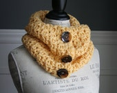 BUTTER YELLOW Cowl Scarf with 3 brown buttons, crocheted