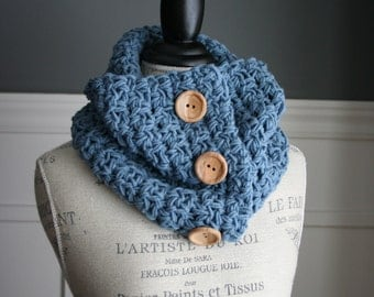 DENIM Blue cowl neck scarf with 3 wooden buttons, crocheted
