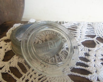 Vintage Jeannette Mason Clear Glass Lid Insert and Zinc Ring Replacement Lid  B806