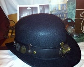 Steampunk Hat  Leather Hat Band with Vial and Gears.