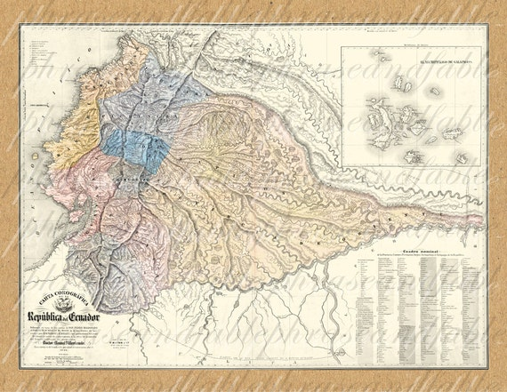 map of ecuador from 1800s ancient new world cartography