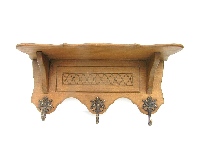 Antique coat rack wooden clothes solid oak hook
