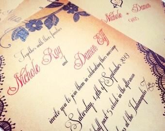 Black lace wedding invitation sample {Bellevue, black lace version}