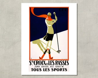 Ste. Croix Tous Les Sports Ski Poster, 1922 - 8.5x11 Poster Print - also available in 11x14 and 13x19 - see listing details