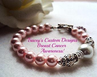 Pale Pink BREAST CANCER AWARENESS Bracelet - Custom made just for you.