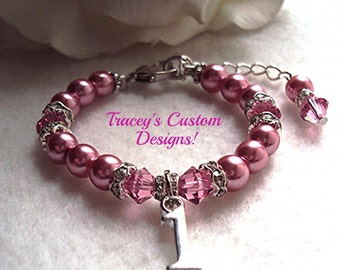 Beautiful BABY'S FIRST BIRTHDAY Keepsake Bracelet - Custom made.
