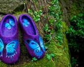 Felted Slippers - Blue Butterfly Made to order