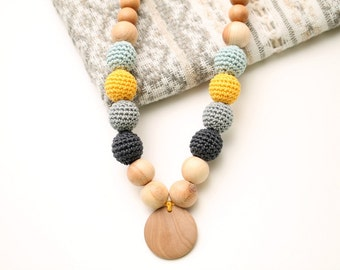 Grey, Yellow, Teal Nursing Juniper necklace with wooden pendant,Wooden Teether, Baby Shower Gift, Eco-Friendly by magazinIL