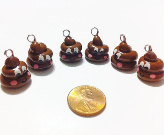 Happy Poo Polymer Charms - 6 pieces, Poop charms, Polymer charms, polymer clay, Christmas gifts, stocking stuffers