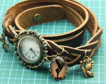 bracelet Brown leather fairy