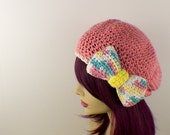 Bright Candy Pink Crochet Beret with Bow