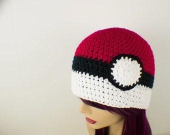 Crochet Pokemon Inspired Pokeball Hat