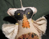 Tea stained muslin owl ornie, Polyfil stuffed, hemp cord for hanging