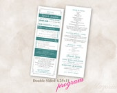TEMPLATE Wedding Program Double Sided Printable Instant Download (teal)