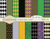 Mardi Gras Digital Scrapbook Paper - chevron, harlequin, fleur de lis, stripe, polka dot, green, gold, purple, black, Fat Tuesday