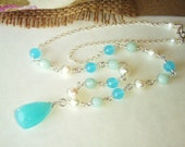 Blue chalcedony necklace with pearls & amazonite, sterling silver jewelry