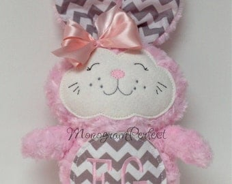 Personalized Light Pink and Gray Chevron Bunny