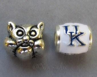 Kentucky Wildcats Logo And Mascot European Bead - University Of Kentucky College Football Charm Beads For European Charm Bracelets