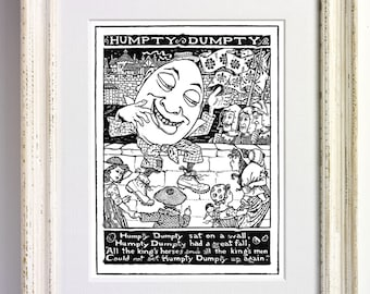 Humpty Dumpty Nursery Rhyme Black and White Art Print Childrens Bedroom Decor Nursery Old Picture Storybook Book Page 562 b1