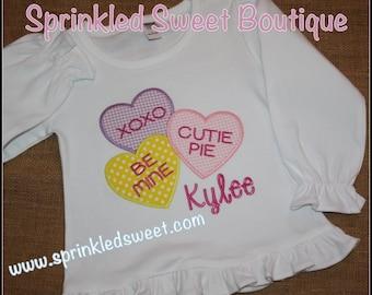 Valentines Day Conversation Hearts Custom Monogram Applique Shirt First Valentines Day