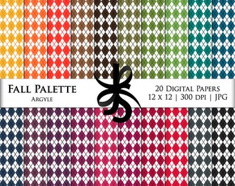 Digital Scrapbook Papers-Fall Palette Argyle-Argyle Patterns-Preppy Papers-Fall Clipart-Wallpapers-Backgrounds-Instant Download Clip Art