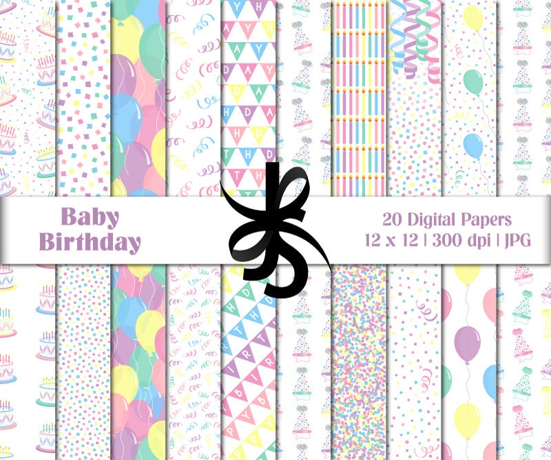 Digital Scrapbook Papers-Baby Birthday-Clipart-Pastel Colors ...