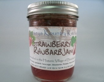 Strawberry Rhubarb jam. Homemade Rhubarb Strawberry fruit spread. Handcrafted,deliciously Sweet, jam & jelly fruit preserves
