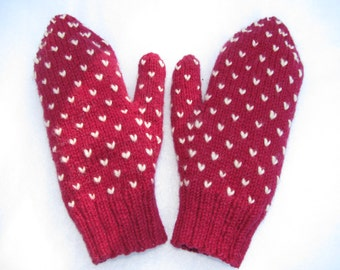 Marsala Wool Thrummed Mittens made with 100% wool. Warm and fashionable.