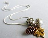 Autumn Treasures European Pendant Necklace - Fall Themed Charm Made With Copper Pine Cone, Silver Acorn And Gold Leaf Charm Beads