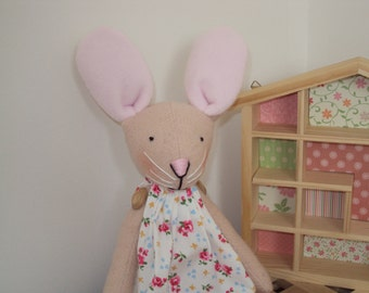 100% Italian Wool Easter Bunny Rabbit with White Floral Dress. Can be personalised