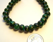 Glass Rondell Beads Dark Green Yellow 8x6mm - 25 Pieces