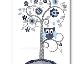 Owl Decor Tree Nursery Owl Nursery Baby Boy Nursery Prints Children Wall Art Kids Art Kids Room Decor Nursery Wall Art Boy Print Gray
