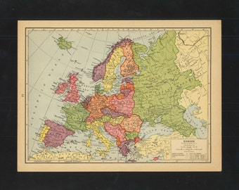 Vintage Map Europe From 1943 Original