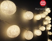 20 Big Cotton Balls White Color Fairy String Lights Party Patio Wedding Floor Table or Hanging Gift Home Decoration