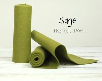 "100 Percent Wool Felt Roll in color SAGE - 5"" X 36"" Wool Felt  - Green Felt"