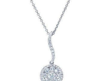 18 Karat White Gold Diamond Cluster Solitaire Dangling Pendant Necklace