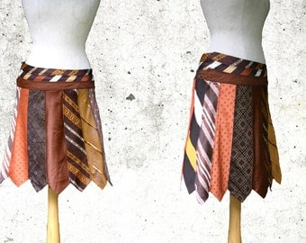 Sale, necktie skirt, M size, Brown necktie skirt, knee lenght brown skirt, tie-skirt, upcycled, eco friendly woman, Solmode