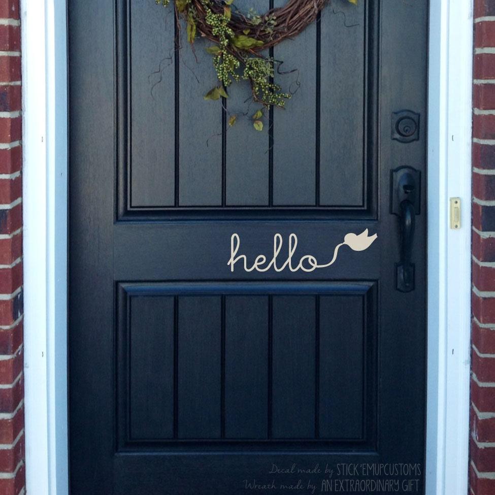 Hello Wall Decal Cursive Writing Flying Bird Door Entryway