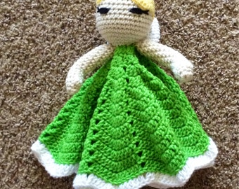 READY TO SHIP: Crocheted Tinkerbell Lovey