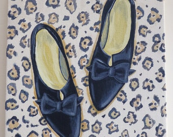Original painting of vintage black shoes on a cheetah background