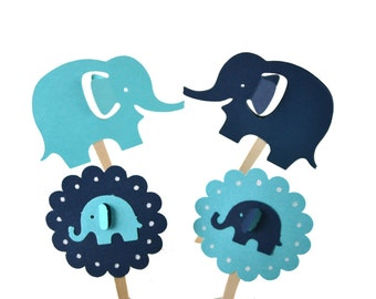 12 Elephant Cupcake Toppers / Teal  Elephant Baby Shower / Elephant Birthday Party / Baby Shower Party Decor /Teal Elephant Party Invitation