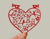 Papercut heart, red, wedding gift, love birds, paper art, dark red, burgundy art